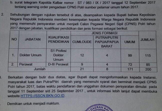 Pengadaan CPNS Polri Tahun 2017